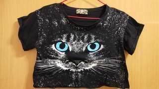 冬季出清~短版特色貓咪T恤