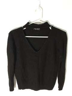 Black cut out neck strap knitted jumper
