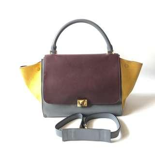 DEAL ALERT! Preloved Celine Trapeze Medium 30 cm Multicolor 2012 with strap, card, & replacement dustbag   *gg