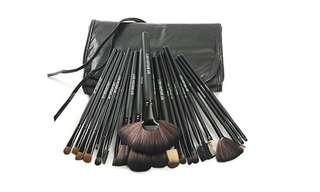 24 piece makeup brush set with leather case