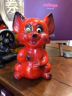 Vintage pottery cat coin bank