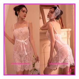 Sexy Lingerie Sleepwear Costume Jubah Robes Cosplay Baju Tidur Pajamas TS7290 White