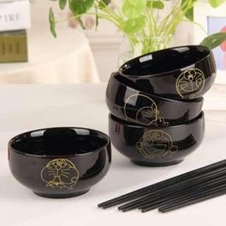 Black gold doreamon cermic bowl set free chopstick