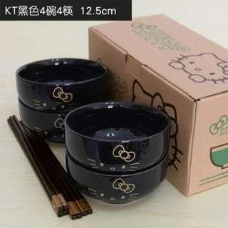 Brand new in box 4pcs set Black gold kitty ceramic bowl