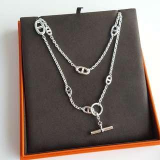 Brand New Hermes Faralandole Silver Necklace 120cm
