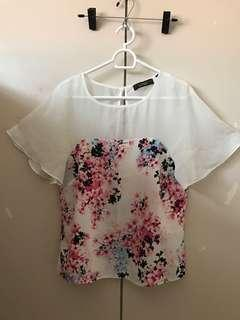 IVORY SHEER with FLORAL DESIGN TOP