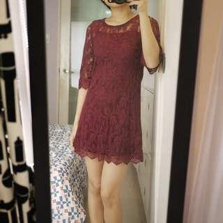 Forever 21 Maroon Lace Dress