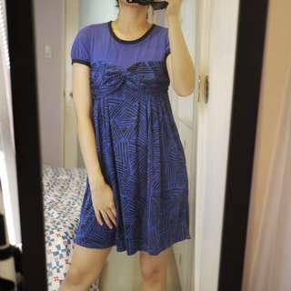 Uniqlo Geometric Pattern Electric Blue Dress