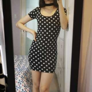Forever 21 Black Polka Dot Bodycon Dress