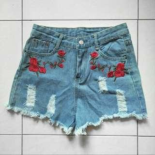 High Waist Rose Denim Shorts