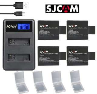 4🔥AOPULY 4pc SJCAM sj4000 battery + USB LCD Dual charger bateria sj7000 sj5000 sj6000 sj8000 SJ M10 for SJCAM sj4000 sj5000 camera