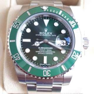 "BRAND NEW 2018 ROLEX 116610 LV ""HULK"" SG SET NEVER WORN"