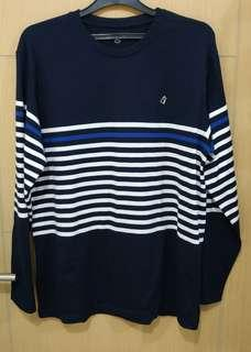 Blouse Long Sleeve Stripe Navy Obermain Original Size XXL