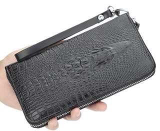 🚚 超奢華 貴氣 發財包 鱷魚壓紋手拿長夾