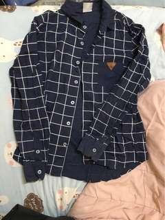 黑人頭 target 藏藍色方格紋襯衫外套