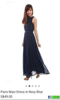 BMD Paris Maxi Dress in Navy Blue (Size S)