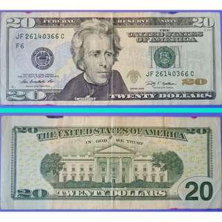 Currency Banknote USA United States of America 20 Dollars Currency Note 2009
