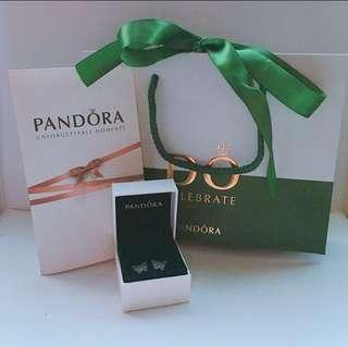 實物圖 100% real & new pandora 925 純銀蝴蝶 耳環