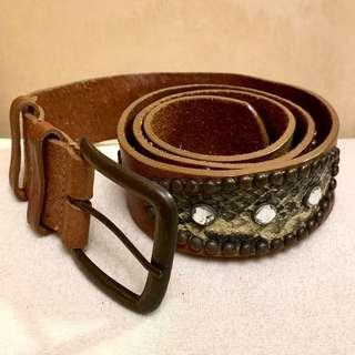 Leather Belt Special Design with stones 真皮皮帶