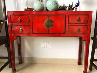 Red cabinet with 4 drawers