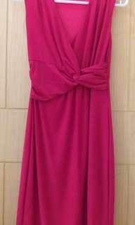 Preloved Dress dewasa merah menyala