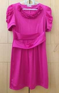 Preloved dress dewasa pink fanta pastel
