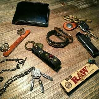 Ranger Vintage Leather & Stud Keychain