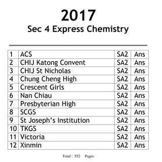 🚚 [2017] Secondary 4 Express Chemistry + Tutor help