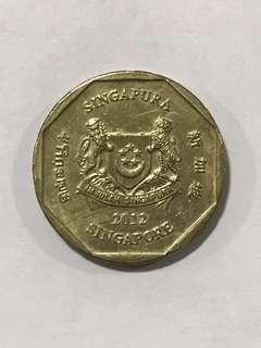 {Collectibles Item - Vintage Coin} Authentic 2012 Singapore $1 Coin Ribbon Downwards