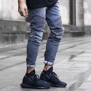 🇺🇸歐美Streetwear修身磨破牛仔褲