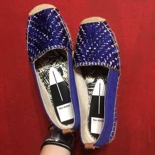 [全新] Dolce Vita 設計師品牌 藍色 刺繡 民族風 草編鞋 平底鞋 娃娃鞋 休閒鞋 名牌 精品 時尚 街頭