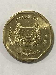 {Collectibles Item - Vintage Coin} Authentic 2008 Singapore $1 Coin Ribbon Downwards