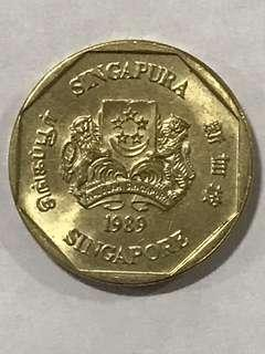 {Collectibles Item - Vintage Coin} Authentic 1989 Singapore $1 Coin Ribbon Upwards