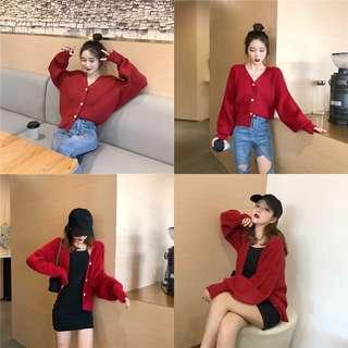 🚚 紅色針織外套