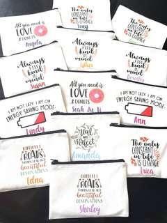 Customized handmade canvas zip pouch