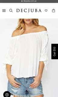 Decjuba Helena ruched ivory off the shoulder top bnwot size 8