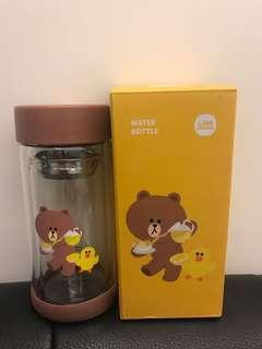 百老匯 x Line Friends Brown 雙層玻璃水樽 glass bottle 220ml