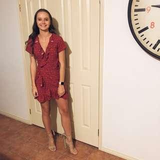 Size 6-8 red wrap dress