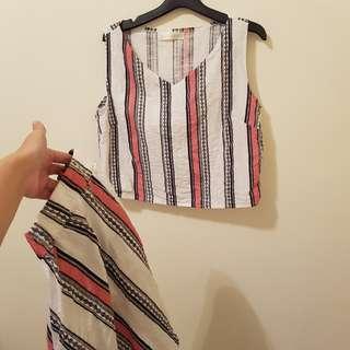 🚚 兩件一套 民族風圖騰亞麻無袖短裙套裝
