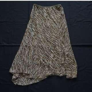 Women's Brown Patterned High-Low Skirt