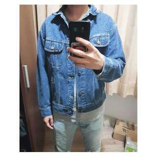 M號 Lee 美國製 古著 Vintage 落肩款 90年代古著寬版 淺色重磅 牛仔外套 潮流 二手