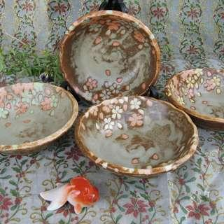 Brown Bowls with  peach flower