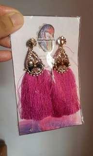 ❤ Pink Tassle Earrings