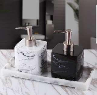 Marble Design Ceramic Soap Dispenser / Container Set