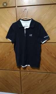 🚚 正品ARMANI EXCHANGE黑色短袖配色Polo衫,8成新,M size(肩45胸48衣長67cm)