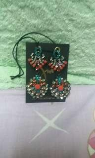 純 水晶 民族 耳環