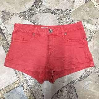 Topshop Moto Red Shorts
