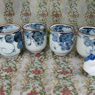 Blue Grapes Tea Cups