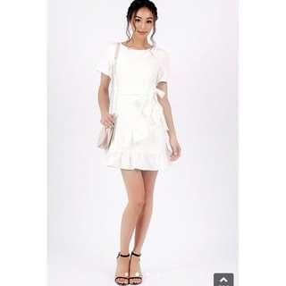 🚚 LOVET Brielle Pastel Ruffle Dress With Sash (White)