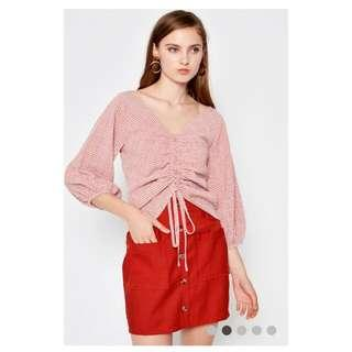HESTER CHECKERED RUCHED TOP RED